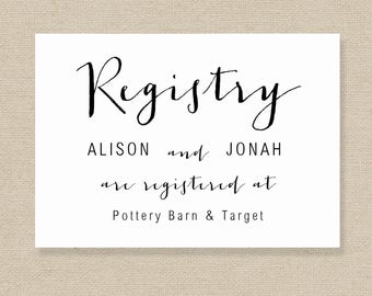 Wedding Registry Card Template - Gift List - Printable Gift Registry Template - Editable Wedding Registry Card - COLOR EDITABLE in MS Word