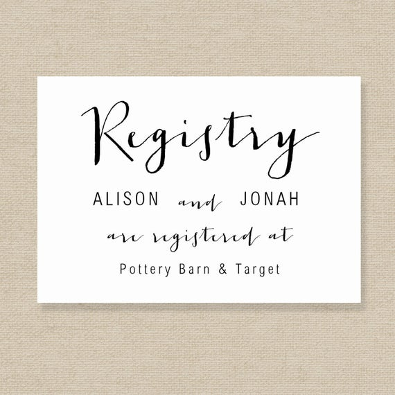 Wedding Gift List Wording Examples: Wedding Registry Card Template Gift List Printable Gift
