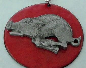 Arkansas Razorback pendant - pewter, torch fired enamel w/collar