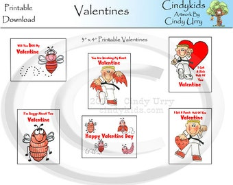 "Printable 3"" x 4"" Valentine's  Downloadable. For School, Friends, And Neighbors."