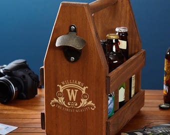 Westbrook Custom Wooden Beer Caddy with Bottle Opener - Great gift for Dad
