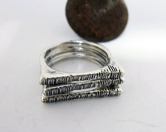 rough Sterling Silver Rings, Surfer Jewelry, Set of Silver Bands, Beach Jewelry,Israeli Jewelry, 3 Silver Stacking Rings