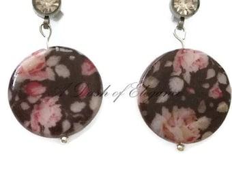 Vintage Rose Disc Earrings
