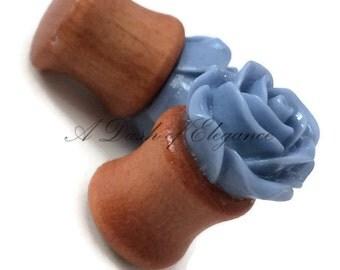 Wooden Saddle Vintage Blue Rose Ear Plugs