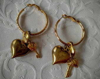 FUN Gold Hoops with Hearts, Lock and Key-Pierced-All Orders Only .99c Shipping!