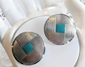 LARGE RETRO EARRINGS-Pierced-Silver-Enameled Turquoise-Square with Line Pattern- All Orders Only 99c Shipping!!