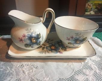 Sutherland Fine Bone China - Creamer, Sugar Bowl, Butter dish set - Staffordshire England - Blue Cosmos - Staffordshire England