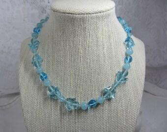 Vintage Miriam Haskell Light Blue Art Glass Adjustable Choker Neklace
