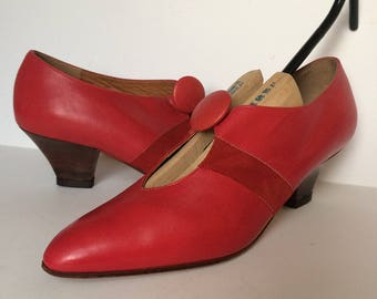 1980's leather red pumps size 7.5 - 8