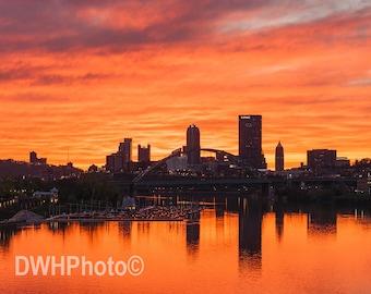 Sunset behind Pittsburgh PA