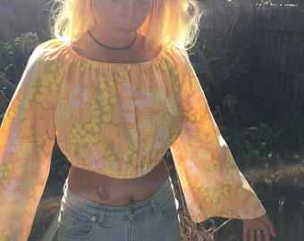 Gypsy Bell Sleeved Crop Top / 70s / Boho / Recycled Vintage Fabric