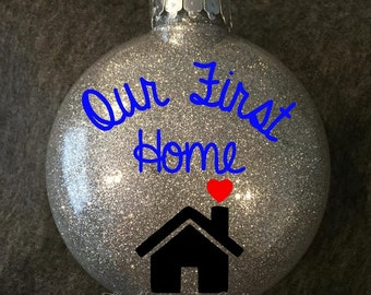 Our First Home Ornament • Custom Glitter Ornament • Custom Christmas Ornament • Personalized Christmas Gift