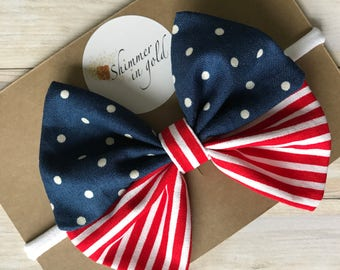 Patriotic Baby Bow~Red, White and Blue Bow~Patriotic Toddler Bow~ Bow Clip or Nylon Headband~ one size fits all
