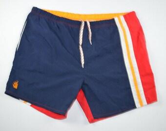 90s NAUTICA Color Block Flag Swim Trunks Shorts Mens Large, Vintage Nautica Swim Shorts, Vintage Swimwear, Vintage Swimming Shorts Striped