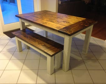 Dining Room Table & Bench Set (Distressed Base)