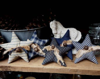 Navy Homespun Star Bowl Fillers, Blue Cupboard Tucks, Star Shelf Tucks, Navy Blue Bowl Fillers, Country Cottage, Farmhouse Chic, Rustic