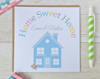 Handmade Personalised New Home Card, Moving Card, New House Card Home Sweet Home,  (LB156)