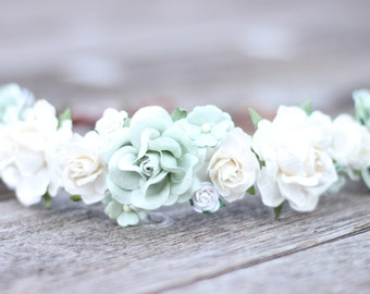 Bridal Flower Crown Sage Wedding Crown White Bridal Crown Wedding Flower Hair Crown Mint Hair Garland Boho Maternity Head Wreath Wedding