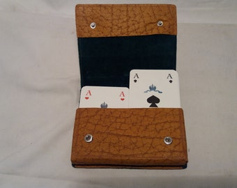 Vintage Dark Yellow Leather Case for Playing Cards