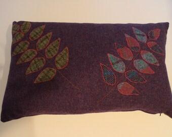 Purple Harris Tweed Cushion