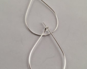 Earrings, Hoop Earrings, Teardrop Hoop Earrings,Silver Plated Hoop Earrings, Antique Silver Plated Hoop Earrings, 25mm Hoop Earrings,
