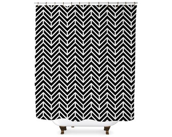 Black and white chevron pattern shower curtain