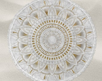 Gold and marble mandala pattern over-sized round beach towel