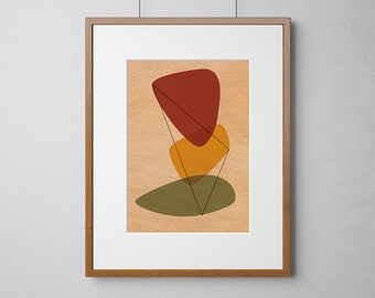 Mid-Century Modern Eames Style Prints | Wood Wall Art | Mahogany Wood |  A3 or 12 x 16 Inch | Free Shipping Worldwide