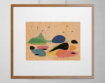 Bird On A Lake | Mid-Century Modern | Wood Wall Art | Mahogany Wood |  A3 or 12 x 16 Inch | Free Shipping Worldwide