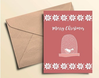 Merry Christmas Snow Globe Cards – Box of 10 With Envelopes