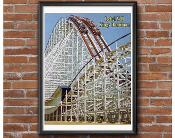 Rebel Yell Roller Coaster Poster – Wooden Racing Coaster At Kings Dominion