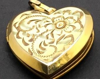 Vintage  Gold Filled Heart Locket Pendant Etched Floral Motif Charm Ornate  Gift For Her