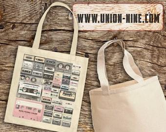 Retro Cassette mixtape tote bag, record bag, shopping bag