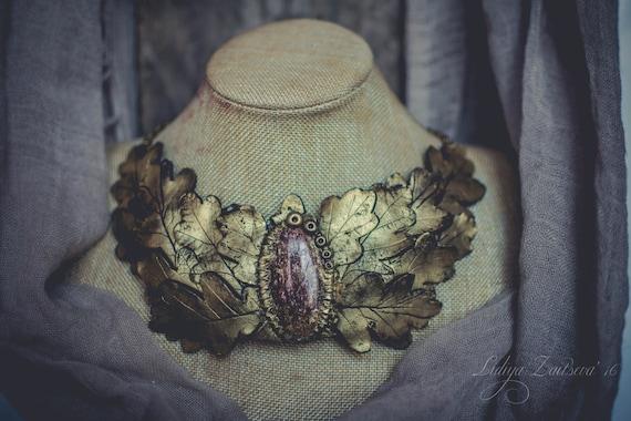 oak Leaf Bib necklace  Statement necklace large gold necklace aventurine necklace polymer clay necklace large necklace  massive necklace