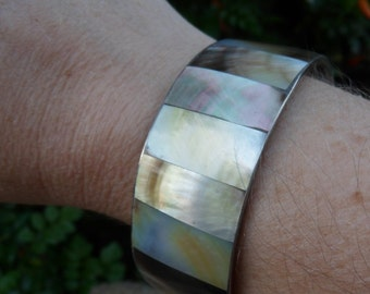 Vintage Abalone Shell Bracelet, Cuff, Jewelry, Mother Of Pearl