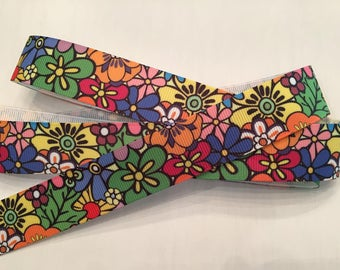 "Colorful Flower Ribbon 7/8"" Grosgrain"