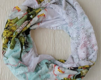 Blue Floral Infinity Scarf made from repurposed T-shirt and white lace