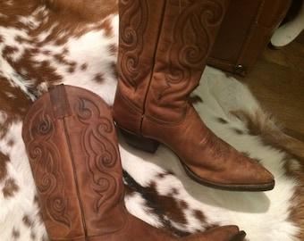 Vintage Tony Lama sz 6M Western cowboy ladies boot/ranch boot/leather