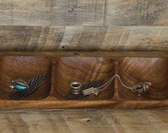 Long Acacia wood divided tray for all your beads, baubles, and bangles