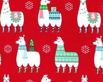 Llama Navidad in Red from Michael Miller Fabrics