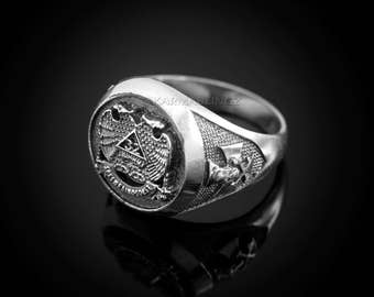 Sterling Silver 32 Degree Scottish Rite Double-headed Eagle Mens Masonic Ring