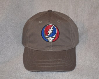 Grateful Dead Steal Your Face Center On a Charcoal Gray Unstructured Baseball hat --- FREE Shipping ---