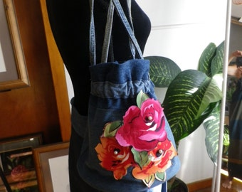 Embellished denim bucket bag
