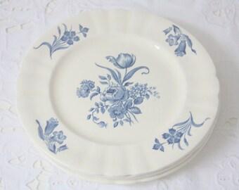 Set of Four Vintage Société Ceramique Maestricht 'Fleuron' Breakfast Plates, Blue Flower Decor, Holland