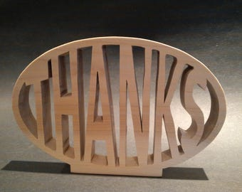 """Wooden """"Thanks"""" free standing plaque"""