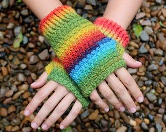 Fingerless gloves, RAINBOW, wool, crochet, handmade with love, knitted wool yarn, hand warmers, men and women, hobo gloves