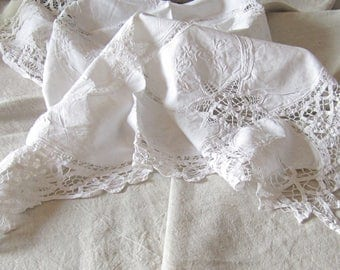 Vintage cutwork table linen, vintage cutwork doily, antique doily lace placemat, white cotton embroidered table topper,cottage shabby linens