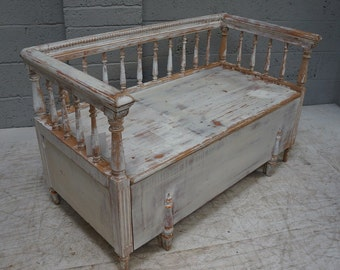 Vintage Painted Pine Gustavian Style Bench
