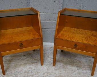 Vintage Pair of Satin Birch Bedside Stands