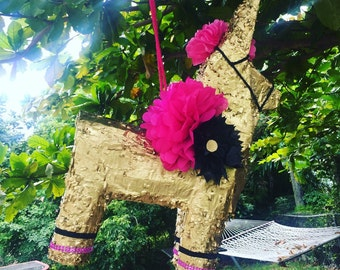 Gold donkey pinata large  pinata gold burro - mexican flowers - fiesta - mexican wedding decorations babyshower cinco de mayo - papel picado